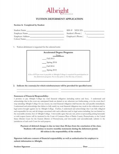 ADP Tuition Deferment Form-Approved by ADP     - Albright