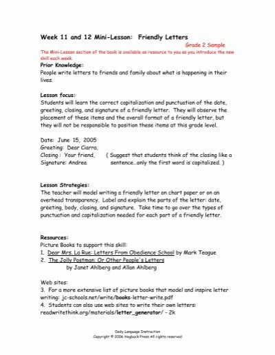 Grade 2 Mini Lessons Weeks 11 12 15 Samples Copy