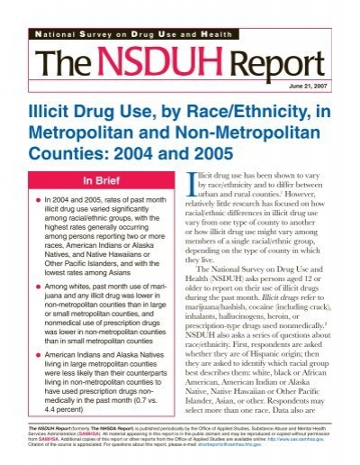 Illicit Drug Use, by Race/Ethnicity, in Metropolitan and - Substance .