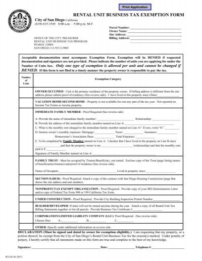 rental unit business tax exemption form - City of San Diego