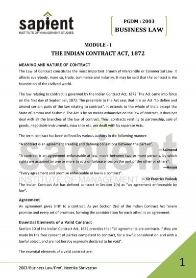 Business Law The Indian Contract Act