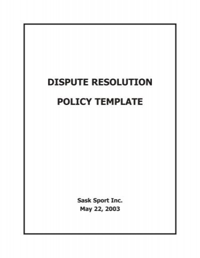 dispute resolution policy template sask sport inc