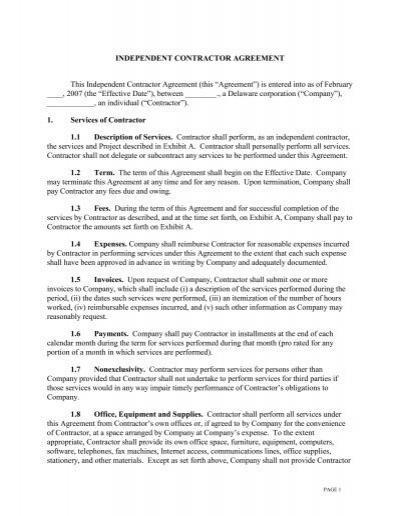 Sample Independent Contractor Agreement XX Purchasing – Sample Independent Contractor Agreement
