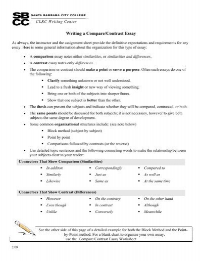 Compare And Contrast Essays With Thesis Development Developing A Thesis For  Compare And Contrast Essay