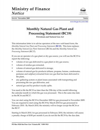 monthly natural gas plant and processing statement  bc19