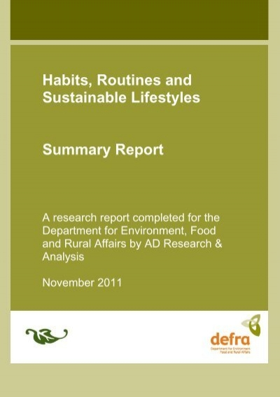 an analysis of lifestyle sustainability and the environment