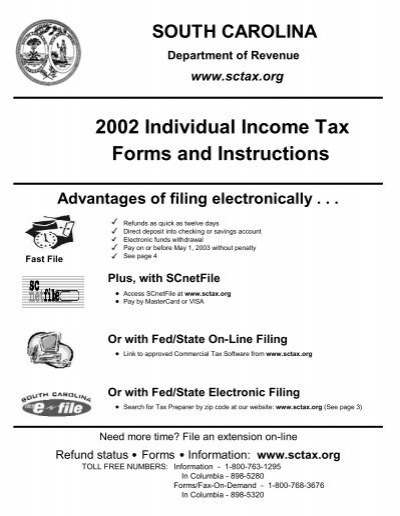 2002 Individual Income Tax Forms And Instructions The South