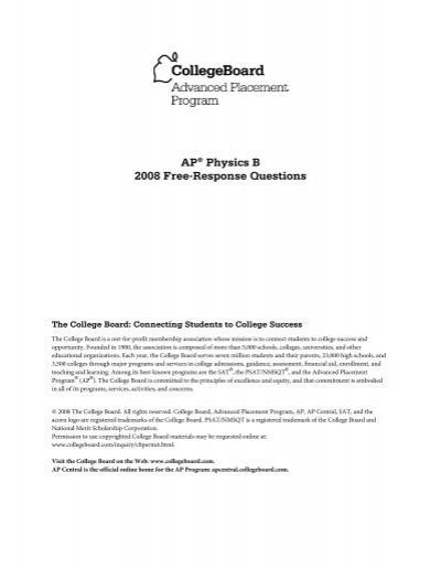 Ap Physics B 2008 Free Response Questions Ap Central