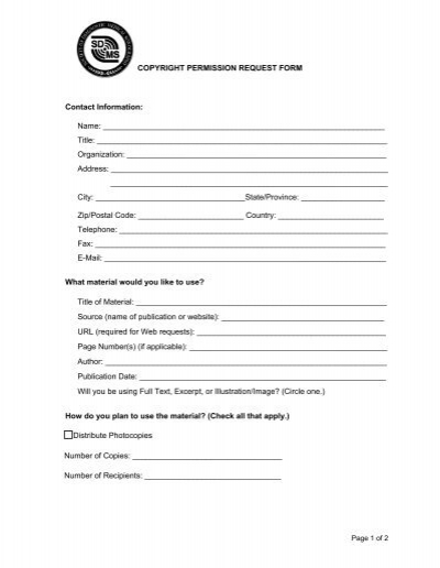 Copyright permission request form contact information for Copyright facts and information