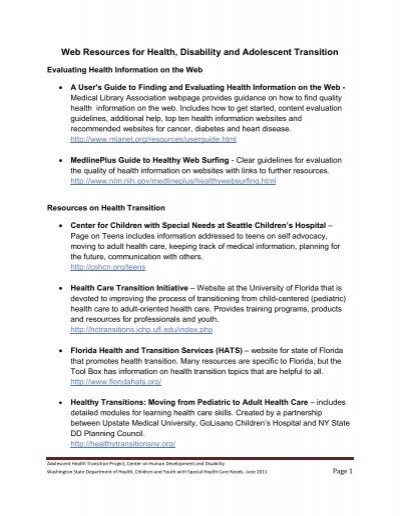Developmental Disabilities Medlineplus >> Web Resources For Health Disability And Adolescent Transition