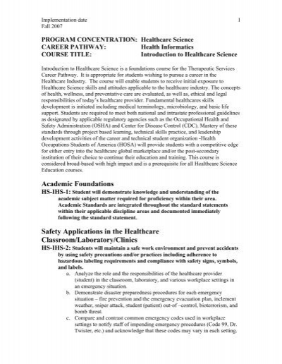 Introduction to Healthcare Science - Georgia Standards