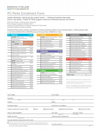 PC Perks Enrollment Form - Rodan + Fields