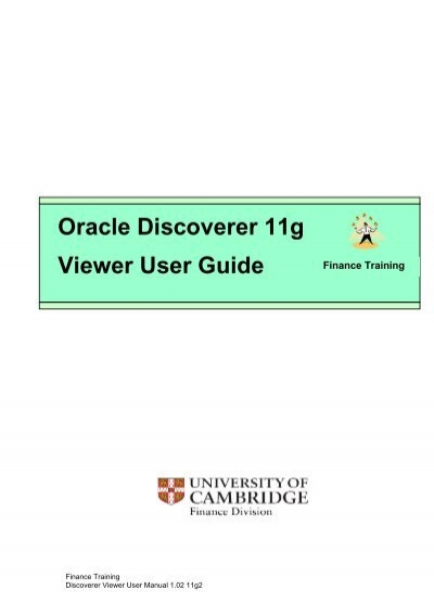oracle discoverer 10g viewer user guide university of cambridge rh yumpu com Oracle Discoverer User Guide Oracle Business Intelligence Discoverer