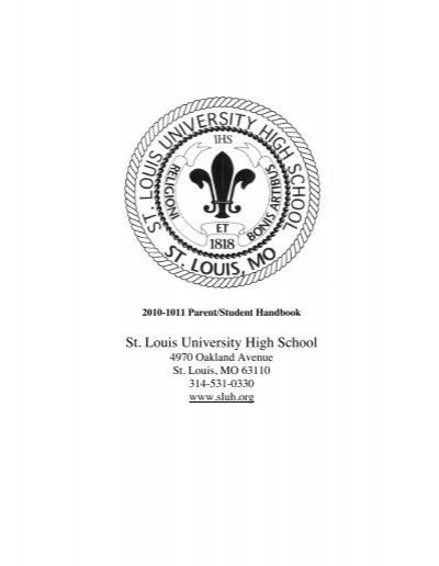 Sluh Calendar.Sluh Student And Parent Handbook St Louis University High