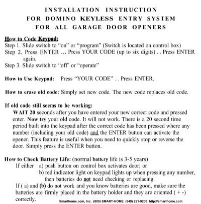 Installation Instruction For Domino Keyless Entry System Smarthome