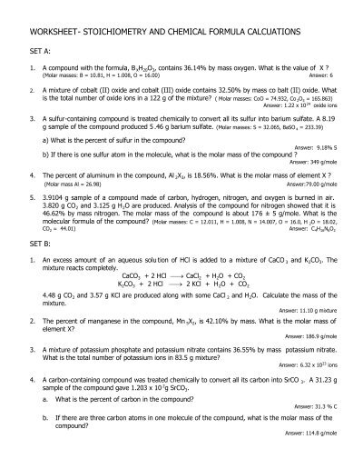 worksheet stoichiometry and chemical formula. Black Bedroom Furniture Sets. Home Design Ideas