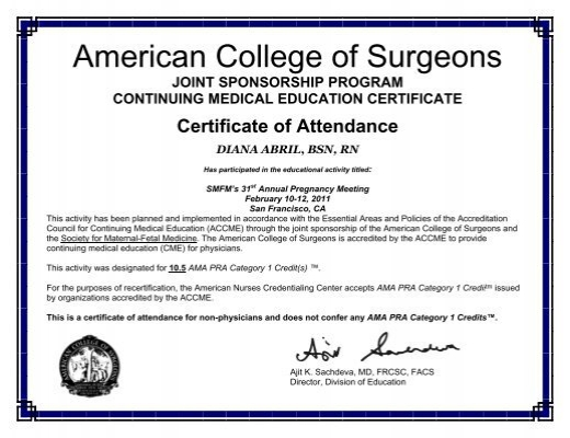Nurses Certificates of Attendance - Society for Maternal-Fetal Medicine