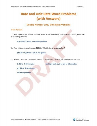 Worksheets Unit Rate Word Problems With Answers 08 rate and unit word problems with answers pdf engageny