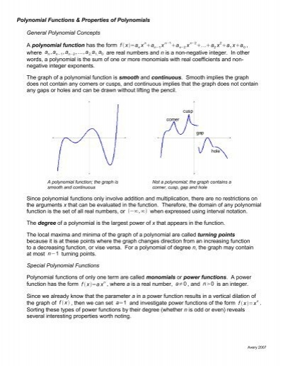 Polynomial Functions Properties Of Polynomials General