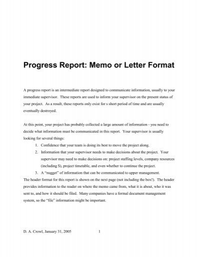 Progress Report Memo or Letter Format – Project Memo Template