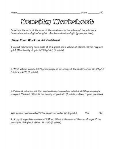 Density Worksheet Chemistry 022 - Density Worksheet Chemistry