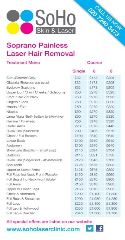 Laser Price List May 12 2 Pdf Laser Hair Removal London
