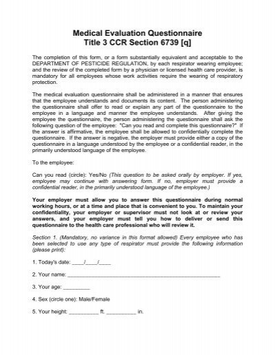 Medical Evaluation Questionnaire Title 3 Ccr Sonoma County