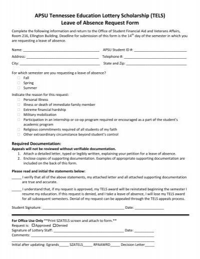 Lottery Leave of Absence Request – Absence Request Form