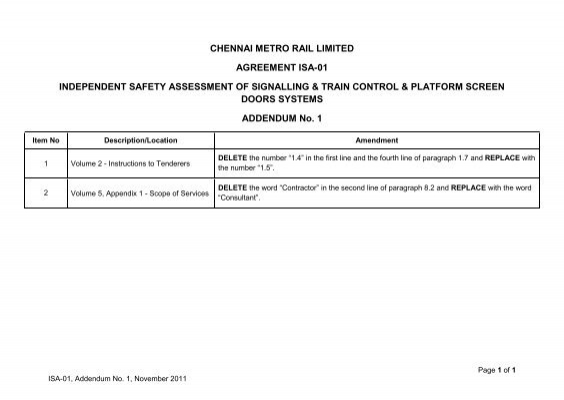 Chennai Metro Rail Limited Agreement Isa 01 Independent Safety