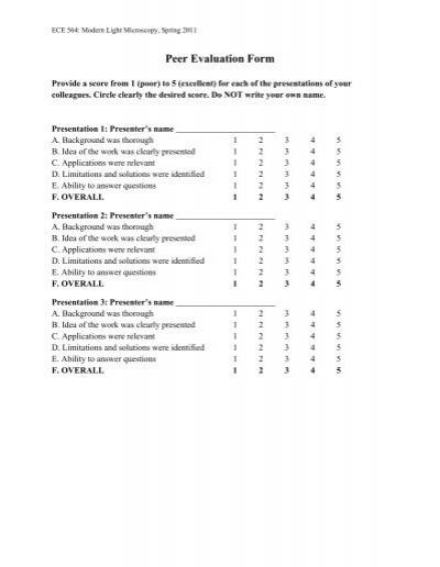 Peer Evaluation form Dartmouth College – Peer Evaluation Form