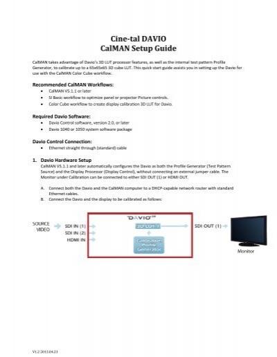 Cine-tal DAVIO CalMAN Setup Guide - SpectraCal