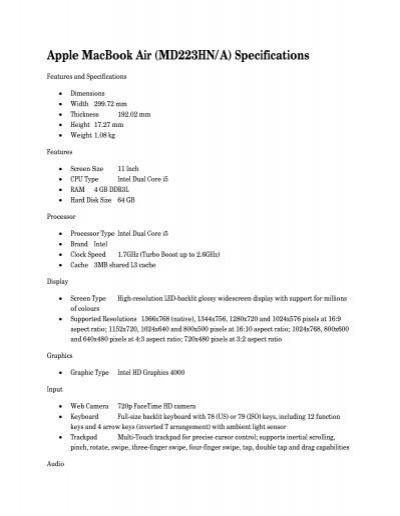 Apple MacBook Air (MD223HN/A) Specifications - Mydala com