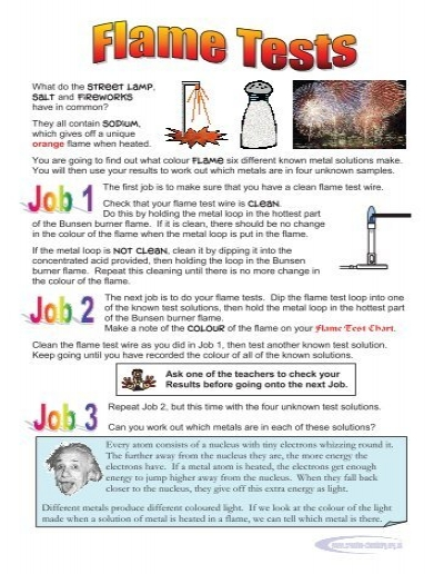 flame test essay Intro: the flame test is a procedure used by chemists to identify the presence of  specified metal ions, based on the color the flame that appears.