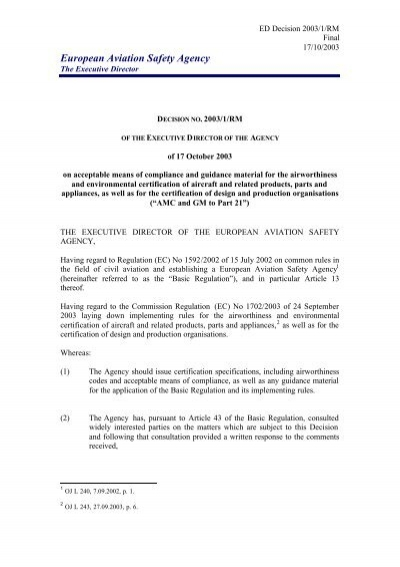 Final Decision AMC GM Part 21 - European Aviation Safety Agency