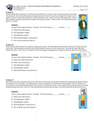 Simpson Scientific Method Worksheet - Education Worksheets
