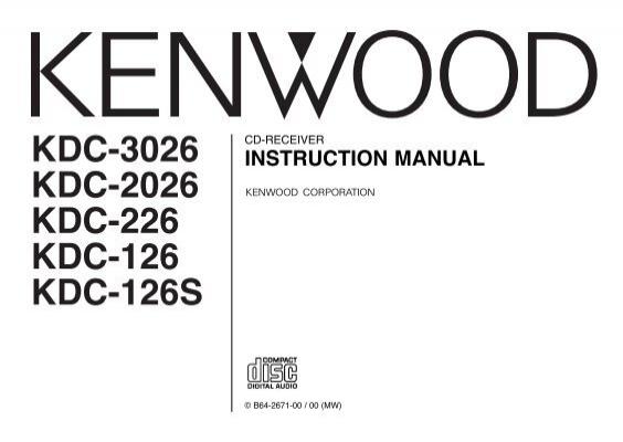 Kdc-3026 kdc-2026 kdc-226 kdc-126 kdc-126s kenwood.