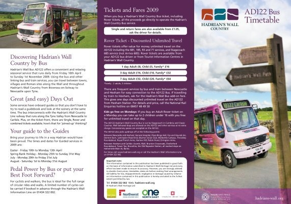 Hadrian S Wall Ad122 Bus Timetable Days Out Leaflets