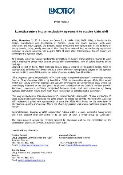 Luxottica Enters Into An Exclusivity Agreement To Acquire Alain Mikli