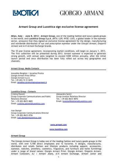 Armani Group And Luxottica Sign Exclusive License Agreement