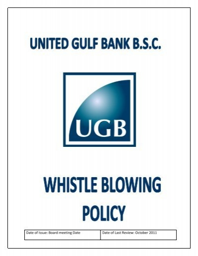 341 whistle blowing policy united gulf bank