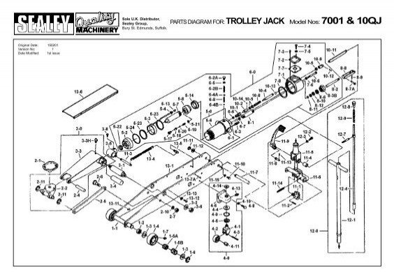 Parts Diagram For  Trolley Jack Model Nos  7001  U0026 10qj