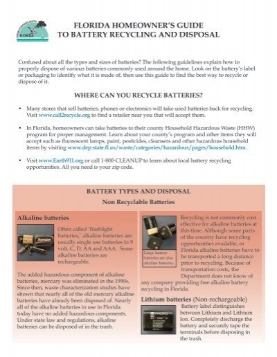 florida homeowner's guide to battery recycling and disposal