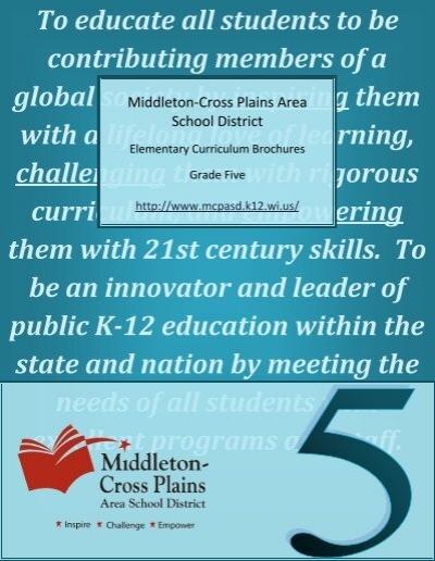 Fifth Grade Curriculum Guide Middleton Cross Plains Area School