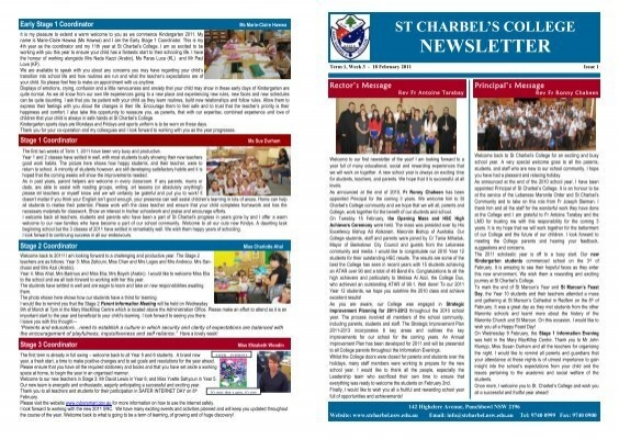 pdf newsletter issue 1 st charbel s college