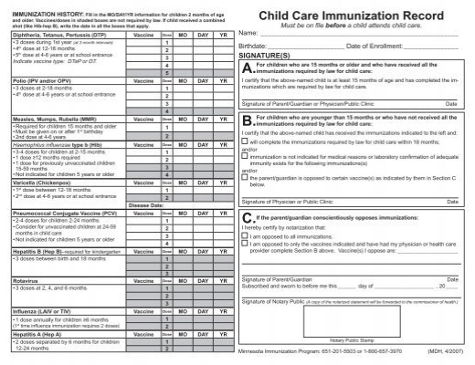 child immunizations record