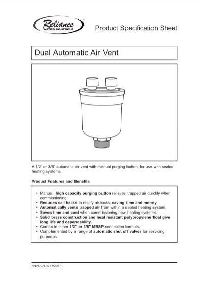 Dual Automatic Air Vent - Heatweb