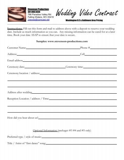 Video Contract Stevenson Productions – Videography Contract Template
