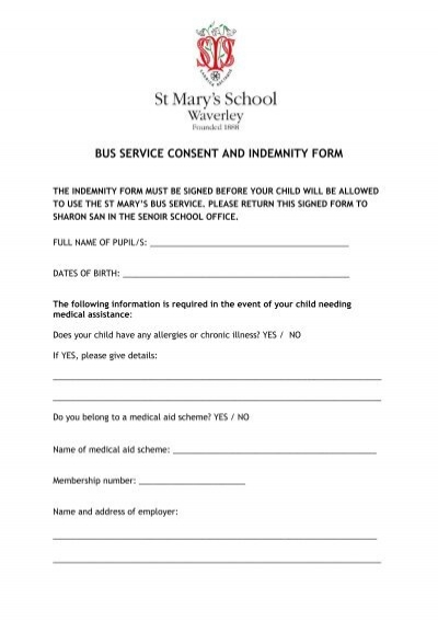 BUS SERVICE CONSENT AND INDEMNITY FORM   St Maryu0027s School  Indemnity Form Template