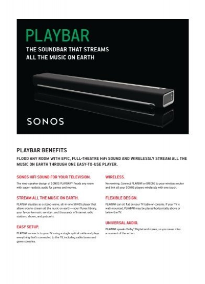 Sonos Playbar Data Sheet - StoneAudio
