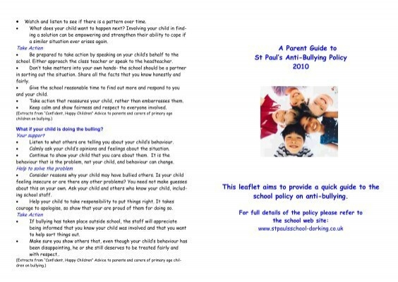 Bullying parent leaflet on anti bullying st pauls c of e aided bullying parent leaflet on anti bullying st pauls c of e aided altavistaventures Image collections